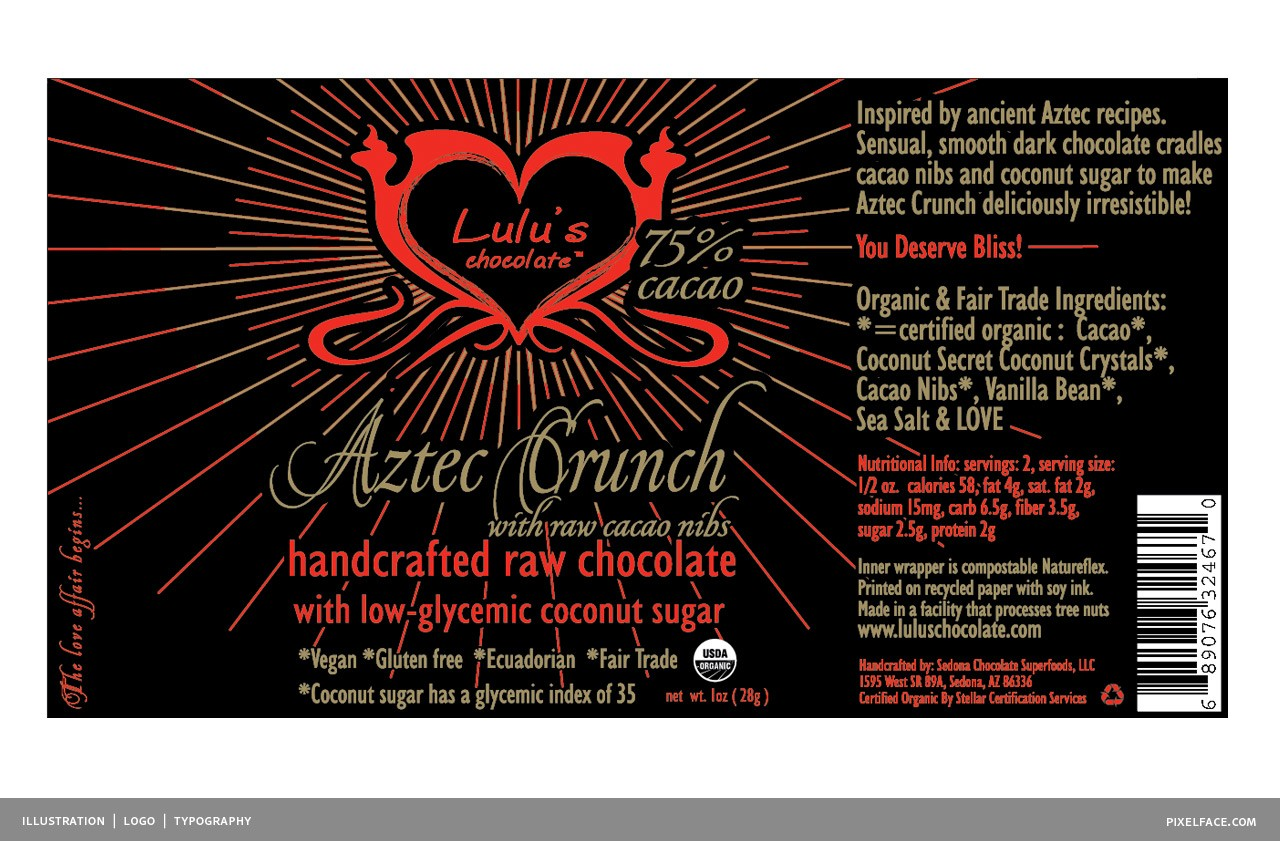 luluschocolate-bar-azteccrunch, luluschocolate, raw chocolate