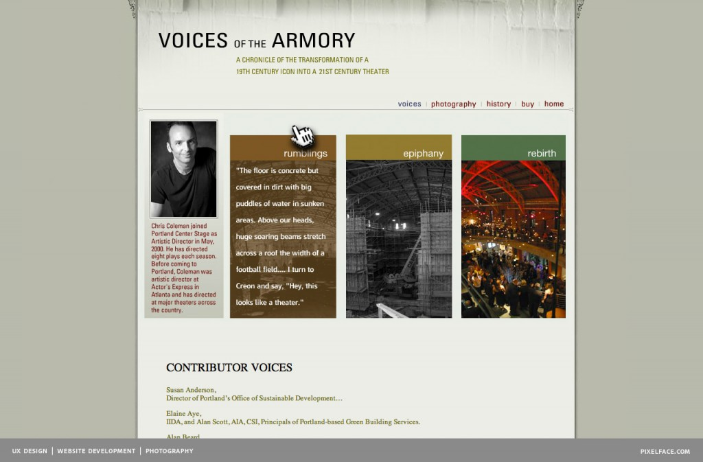 Voices of the Armory - web design